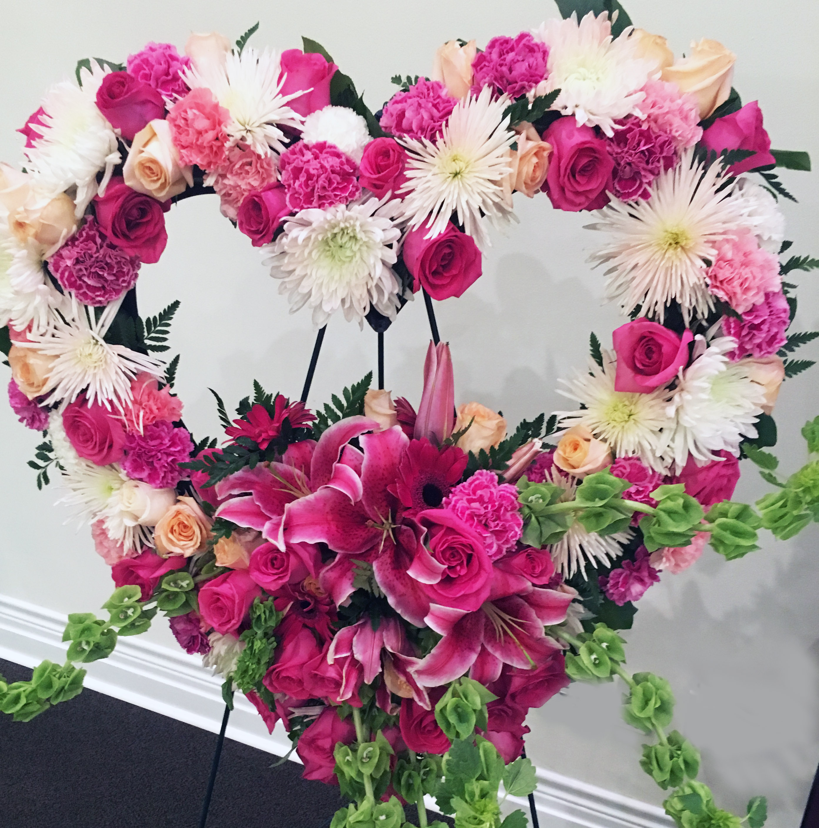 Peach & Pink Heart Wreath