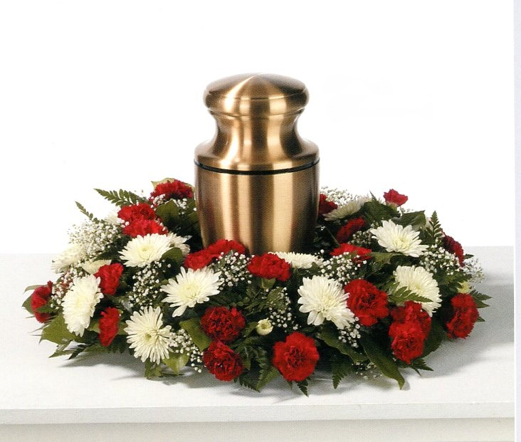 Red and White Rose Urn